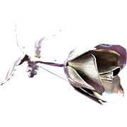 Rose Brooch of SilverTone by Giovanni Pristine