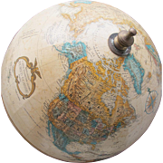SALE World Globe in Old World Colors on Wood Base with Topography Raised Relief