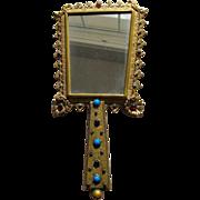 Hand Mirror Austrian Jeweled Faux Gems