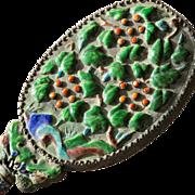 SALE Antique Hand Mirror Enamel Oriental 1900