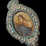 Micro Mosaic Frame Gorgeous Shaped like a Hand Mirror