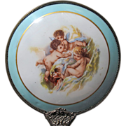 SALE Limoges Hand Mirror Porcelain with Angels Brass Handle
