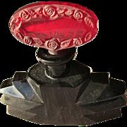 SALE Art Deco Perfume Bottle Czechoslovakian Red Stopper of Roses Long Dauber