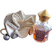 SALE Mini Perfume Bottle in Pouch with Bells Marquay Coup de Feu 1957 Novelty