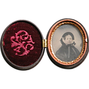 Daguerreotype Photo in Molded Gutta Percha Frame Union Case