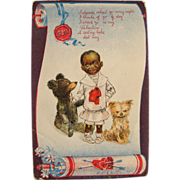 SALE PENDING Black Americana Post Card Artist Signed R.F. Outcault for Valentine's Dog Teddy B