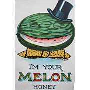 SALE Valentines Post Card Dressed Melon