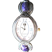SALE Sterling Silver Watch with Purple Stones Unused
