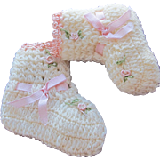 SOLD Hand Crocheted Baby Booties Doll Shoes