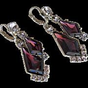 SALE Earrings Purple Cut Glass with Rhinestones Boxed Unused