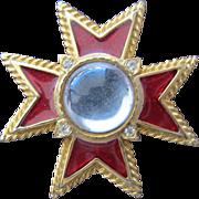 SALE Red Enamel Pendant Cross with Rhinestones