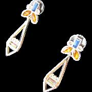 Jeweled Stone Earrings Butterfly Estate Sale Jewelry