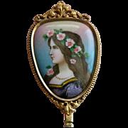 SALE French Enamel Mirror Bronze Signed Antique