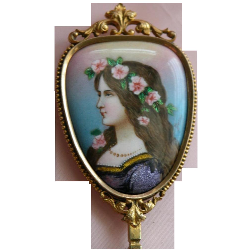 French Enamel Mirror Bronze Signed Antique