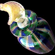 SALE Venetian Glass Perfume Bottle Blue Green Gold Copper
