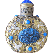 SALE Jeweled Czechoslovakian Perfume Bottle Blue Lapis Ston Enameled Flowers Filigree