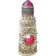 SALE Jeweled Perfume Bottle Czechoslovakian Mini Purse Perfume Red