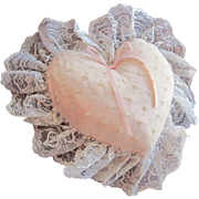 Heart Pillow in Satin and Lace Pink Pillow with Faux Pearls