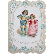 SALE Victorian Valentine's Day Card Frances Brundage Illustrator 1895 Romantic
