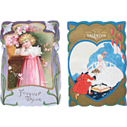 SALE Vintage Valentine's Day Cards Two Cuties