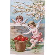 SALE Valentine's Day Post Card Germany Embossed Cherubs with Hearts