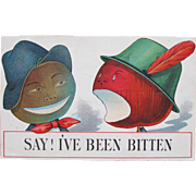 SALE Valentine's Post Card Talking Dressed Fruit in Hats