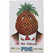 Valentine's Day Post Card Unused Dressed Fruit Politically Incorrect