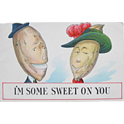 SALE Valentine's Day Post Card Dressed Vegetables Comical