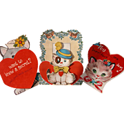 SALE Valentine's Greeting Cards with Cats Kittens Three Cards Total