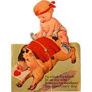 SALE Mechanical Valentine's Card by Illustrator Twelvetrees Pig and Baby