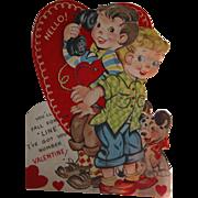 SALE Mechanical Valentine's Card Vintage 1930s Large Dog and Phones