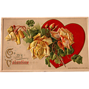 SOLD Valentine's Day Post Card Winsch  by Artist Catherine Klein Yellow Roses