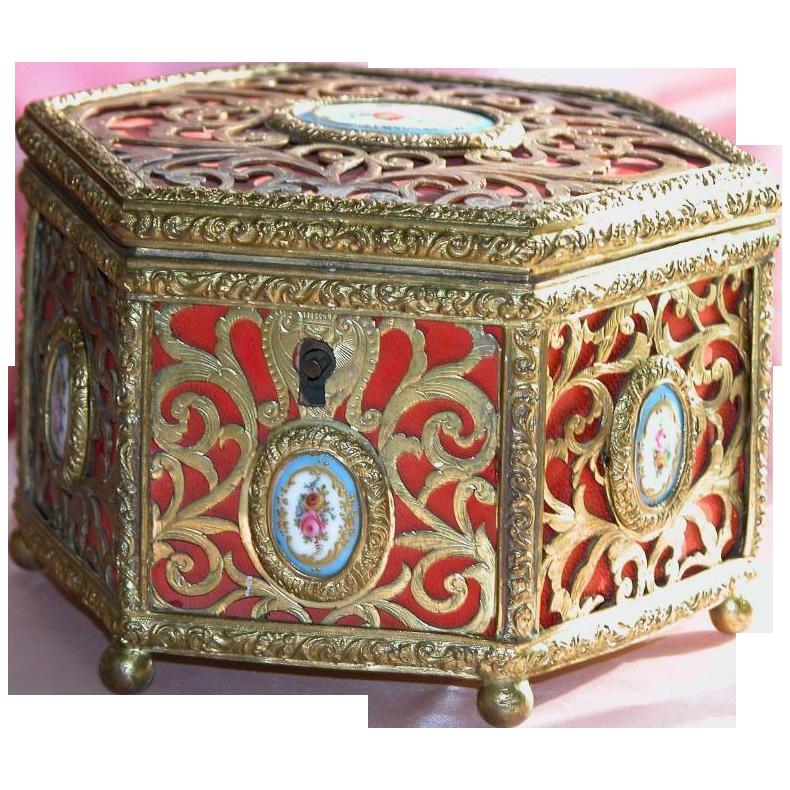 Antique French Box- Hand Painted  Porcelain Plaques