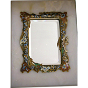 SALE Antique French Champleve Mirror Enamel Inlay on Marble Stand Beveled Mirror
