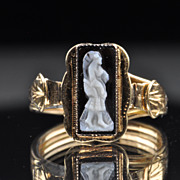 SALE Victorian Hand Carved Cameo Ring