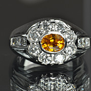 2.55 Carat Orange Sapphire and Diamond Ring