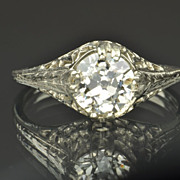 SALE 1.28 Carat Old European Cut Diamond Engagement Ring