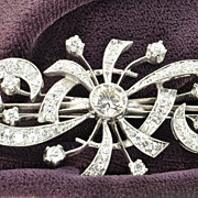 SALE 3.5 Carat Diamond Art Deco Style Brooch