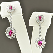 SALE 1.42 Carat Diamond and Pink Sapphire Dangle Earrings