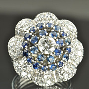 SALE 2.70 Carat Diamond and Sapphire Flower Ring