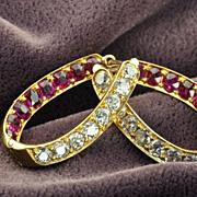 SALE 4 Carat Old Mine Cut Ruby and Diamond Earrings