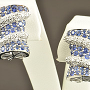 SALE 4 Carat Sapphire and Diamond Earrings