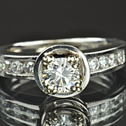 1.35 Carat Diamond Engagement Ring / .50 Center