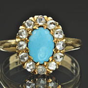 SALE Victorian Diamond and Turquoise Ring