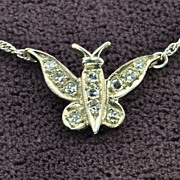 SALE Diamond Butterfly Necklace