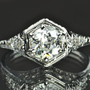 SALE 1.07 Carat Edwardain Style Engagement Ring / .91 Center / EGL Certified