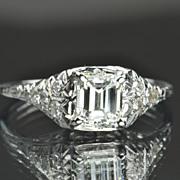 SALE 1.17 Edwardian Style Emerald Cut Diamond Engagement Ring / EGL Certified