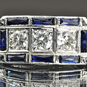 SALE 2 Carat Diamond and Sapphire Vintage Ring