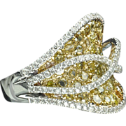 SALE 2.87 Carat Fancy Yellow and White Diamond Ring