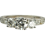 1.5 Carat Diamond Engagement Ring / .75 Old European Cut Center